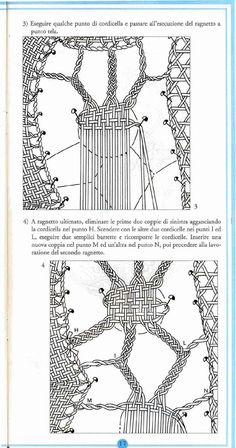 Bobbin lace in italian Bilros/birros em italiano Encaje de bolillos Tombolo Drawn Thread, Thread Work, Irish Crochet, Crochet Lace, Bobbin Lacemaking, Bobbin Lace Patterns, Needle Lace, Cutwork, Textiles