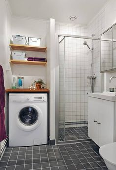 Basement laundry room beside bathroom shower. Why not turn it into a functional room like a laundry room for instance? Laundry Bathroom Combo, Tiny Laundry Rooms, Laundry Room Design, Bathroom Layout, Small Bathroom, Basement Laundry, Bathroom Cost, Bathroom Pink, Bathroom Taps