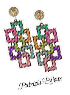 Geometric Earrings Pattern Peyote and Loom - DIY Schmuck Seed Bead Jewelry, Bead Jewellery, Jewellery Shops, Peyote Patterns, Beading Patterns, Etsy Earrings, Native American Beadwork, Beaded Jewelry Patterns, Seed Beads