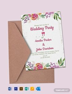 Instantly Download Free Wedding Party Invitation Template, Sample & Example in Microsoft Word (DOC), Adobe Photoshop (PSD), Adobe InDesign (INDD & IDML), Apple Pages, Microsoft Publisher Format. Available in 5x7 inches + Bleed. Quickly Customize. Easily Editable & Printable.