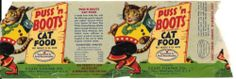 1950's PUSS 'n BOOTS CAT FOOD Label - Original Can Label - Colorful Graphics -