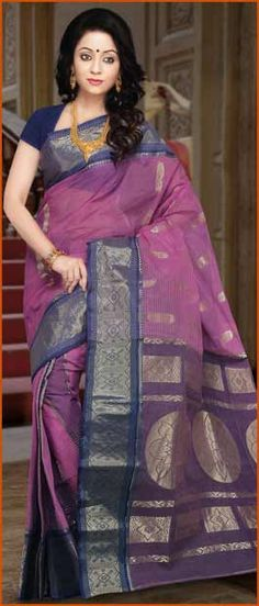 Onion #Pink and #Blue Cotton Tant #Saree With Blouse @ $60.31