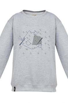FANTOMAS MOUTAIN ROCK Sweatshirt made of a high quality fabric in gray. Composition 95% cotton 5% polyester. Beautifully finished in a fashionable cut, specially designed with comfort in mind. Durable print, made digitally. Graphics created specifically for the Limited Edition by a talented Polish graphic designer hi.goszi, realizing many amazing projects in Poland and abroad. The whole series by hi.goszi was inspired by the atmosphere of mountains and winter sports. #meetthellama #pyjama