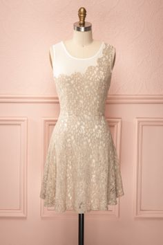 Odiane - White veil dress with tan floral lace $48