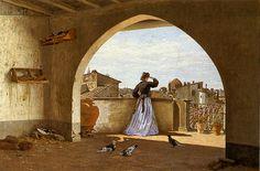 Borrani, Odoardo (1832-1905) - 1865 My Terrace, Florence (Private Collection)  #TuscanyAgriturismoGiratola