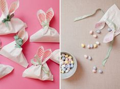 Cute bunny ear bags to put Easter candy in! Bunny Crafts, Easter Crafts For Kids, Easter Ideas, Easter Candy, Hoppy Easter, Diy With Kids, Diy Ostern, Easter Holidays, Craft Gifts