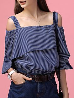 $12.89 Chic Off The Shoulder Striped Tee + Little Crop Top Twinset For Women