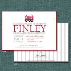 PRINT YOUR OWN Fireman, Firefighter, Fire Truck, Fire Station Birthday invitation, 5x7 front and back by The Silly Nilly Studio