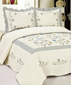 High Quality Fully Quilted Embroidery Quilts Bedspread Bed Coverlets Cover Set , Queen King (Beige/Grey) * Details can be found by clicking on the image. (This is an affiliate link) Gray Bedspread, Coverlet Bedding, Comforter Set, Urban Outfitters, Christmas Bedding, Shabby, King Size Quilt, Pillow Top Mattress, Beds For Sale