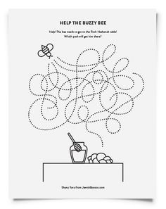 This maze is a great way for students to practice their fine motor skills by following the dotted lines to the apples and honey.