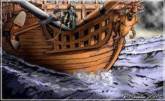 CrabeCanoë: Navire Corsaire. Dessin de Régis DROULEZ.