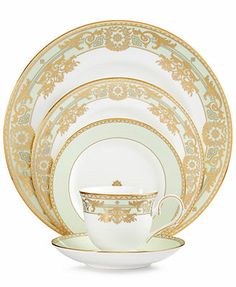 Work wonders with any table setting. Exquisitely crafted in bone china, the Rococo Leaf place setting by Lenox features intricate gold scrollwork and mint green accents for a look that recalls Dinnerware Sets, China Dinnerware, Place Settings, Table Settings, French Rococo, China Sets, Elegant Dining, Glass Christmas Tree, China Patterns