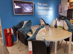 Ikea Plush sharks at their 'think tank'.