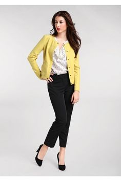 Yellow cardigan, bow blouse