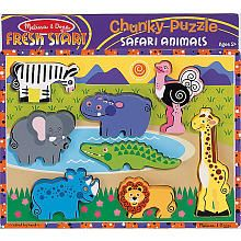 Melissa & Doug Deluxe Safari Animals Chunky Wood Puzzle - 8-Piece (3-5 yrs)