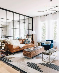 Having small living room can be one of all your problem about decoration home. To solve that, you will create the illusion of a larger space and painting your small living room with bright colors c… Home Living Room, Apartment Living, Interior Design Living Room, Living Room Furniture, Living Spaces, Studio Apartment, Living Room Wall Mirrors, Bench In Living Room, Living Room Curtains