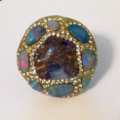 Boulder and fire opal and swarovski ring by YaronaJewelryDesign, $269.00