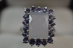 Faceted Cushion Opalite & Purple Tourmaline Size 8 Ring QVC 925 Sterling Silver #Cocktail