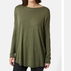 Topshop paneled longline sweater. Army green and super soft. Worn once or twice. Color is closest to first picture. 65% viscose, 35% nylon. Topshop Tops