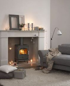 Morso Badger 3112 Stove grey soft white cushions and rug. Can add pale pastel pink colour accent Living Dining Room, Home And Living, Room Design, Home Living Room, Living Room Inspiration, New Living Room, Home, Log Burner Living Room, Living Room Grey