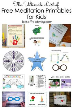 Long list of free meditation printables for kids including free breathing exercises finger labyrinths guided meditation scripts to use with kids and free printable scripture cards for kids' Christian meditations - Bits of Positivity Guided Meditation, Meditation Kids, Meditation Scripts, Mindfulness For Kids, Mindfulness Activities, Mindfulness Meditation, Mindfulness Practice, Mindfulness Therapy, Mindfullness Activities For Kids