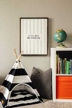 Little boy big purpose modern farmhouse sign. Rustic inspired toddler boys bedroom with globe, bookshelf, black and white stripped tee pee, and little boy big purpose arrow sign on the wall. Little Boy Bedroom Ideas, Boy Toddler Bedroom, Big Boy Bedrooms, Toddler Rooms, Boy Rooms, Toddler Boy Room Ideas, Little Boys Rooms, Kids Rooms, Romantic Bedroom Decor