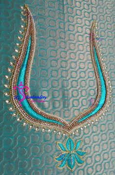Aari Embroidery lotus neck design...