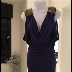 Navy Blue Dress with Fur and Bead detail. Size S Navy Blue Dress with beautiful Fur and Bead detailing on shoulders. Has scrunching detail on sides great for going out. ❤️ Mustard Seed Dresses Mini
