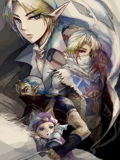 Adult Link, Sheik, Impa, and Young Princess Zelda - The Legend of Zelda: Ocarina of Time