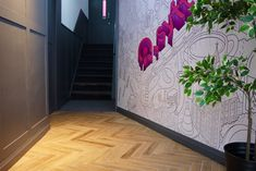 #SYFT main #entrance to #Manchester #office  #TrainingCentre and #Onboarding sessions #roostreet #RooSt #interiors #Parquet style flooring with tiles from #roccia #WoodenPanelling in keeping with the #architecture of this #Grade2Listed building