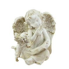 Felices Pascuas Collection 8.5 inch Heavenly Gardens Distressed Ivory Sitting Angel with Book & Friend Outdoor Patio Garden Statue