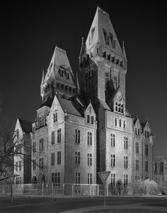 This institution looks just this way every evening.  Ominous lighting and melodramatic architecture look like a lovely old building by day.  It's the Buffalo Psychiatric Center as photographed by Christopher Payne in his book, ASYLUM.
