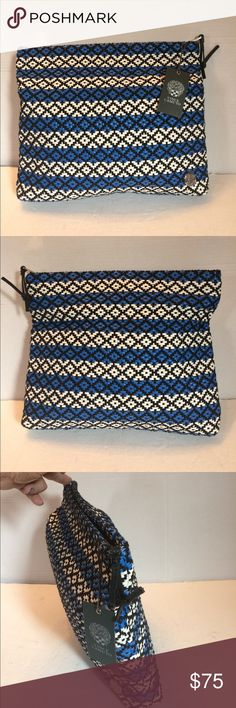 Vince Camuto Calli Clutch New This is a gorgeous new Vince Camuto large clutch. This bag is 97%polyester and 3% genuine leather. It is woven black, blue, and white  with a silver signature label. The lining is canvas with a leather trimmed large zipped pocket and two leather trimmed slip pockets. Color is electric blue. New with tag. Vince Camuto Bags Clutches & Wristlets