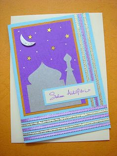 Lin Handmade Greetings Card: Mosque.....Soft baby blue and soft purple