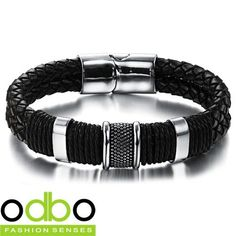 Men's Stainless Steel Mix Leather Bracelet