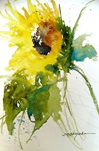 Maci's Sunflower by Sandy Strohschein Watercolor ~ x