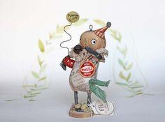 Fil À Sophie whimsical spun cotton primitive folk art pumpkin doll miniature for your harvest fall decoration!  Nostalgische Primitive Folk Art Figur Kürbis Pumkin Doll