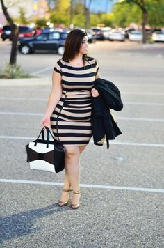 Striped bodycon dress plus size