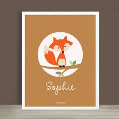 Custom Baby Print Forest Friends Fox 85 x 11 by SimpleShapes, $22.00