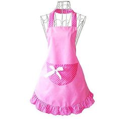 Women Cupcake Shop Fashion Apron with Pocket Pink Girls Sexy Baking Gift For Her