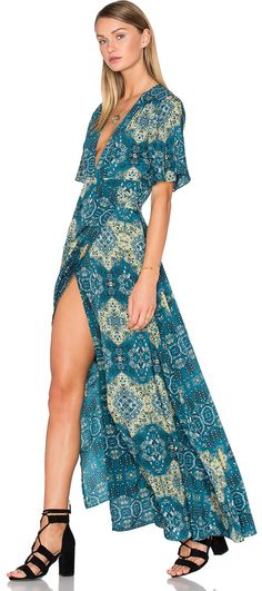 Love this morrocan tile print on this flowy dress. House of Harlow 1960 x REVOLVE Blaire Wrap Maxi