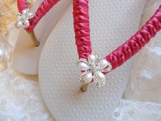 Ivory Bridal Flip Flops decorated with Pink Watermelon ribbon