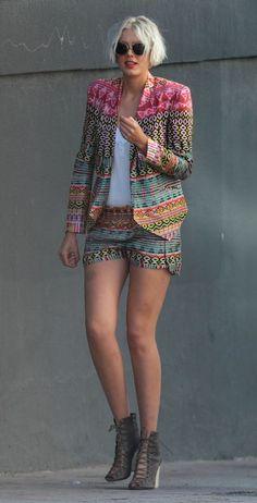 tribal print jacket and shorts