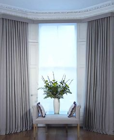 Curtain Track In Square Bay Window Livingroom . The Secret To DIY Bay Window Curtain Rods From 3 Little . Bay Window Curtains Living Room, Bay Window Curtain Poles, Bay Window Blinds, Curtain Pelmet, Wave Curtains, Curtains With Blinds, Bay Windows, Curtains On A Track, Interiors