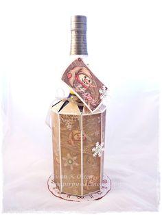Konjakk skjuler, paper, papir, paperfolding, papirbretting, cognac, cognac gift, scrapbooking, scrapbook, 3D