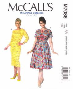 McCall's Sewing Pattern 7086 Women's Plus Size 18W-24W Vintage Style Straight Full Skirt Dresses  --  Need a different size or pattern? Check out our store www.MoonwishesSewingandCrafts.com for 8000+ uncut sewing patterns all sizes and styles!