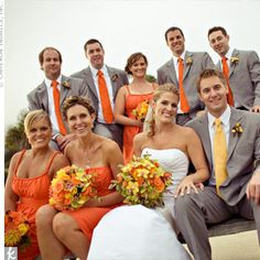 Love the men's suits! Groom with yellow tie instead of orange