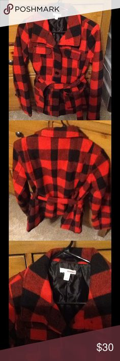 Bongo Buffalo Check Jacket This jacket is AMAZING!! I'm very reluctant to part with it but it is too small for me. 😔 I love all things red and black buffalo check or plaid! This coat has never been worn by me but is in like new condition. No flaws, stains, damage, odors or piling of any kind! Grab it now ladies, it won't last long! BONGO Jackets & Coats