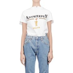 Vetements - Antwerp Tee ($290) ❤ liked on Polyvore featuring tops, t-shirts, blue tee, cotton tee, blue cotton t shirts, blue t shirt and cotton shirts