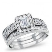 West End, 14K White Gold Diamond Bridal Set, 1 CTW